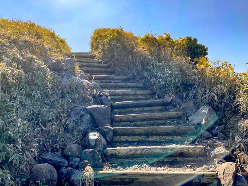この階段を登りきると、山頂はもうすぐです