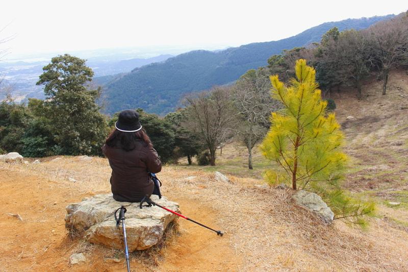 山の頂上から景色お眺める女性