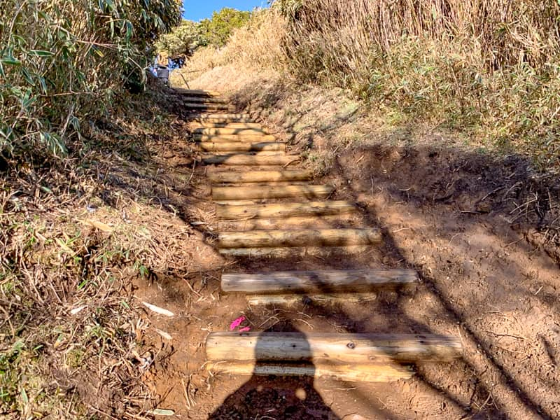 登り始めは階段が続きます