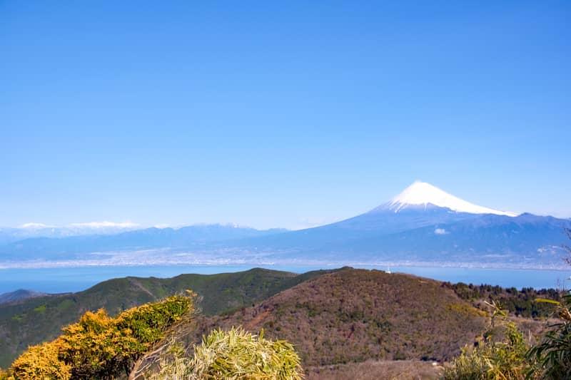 階段から背後をみると富士山がばっちり見えます