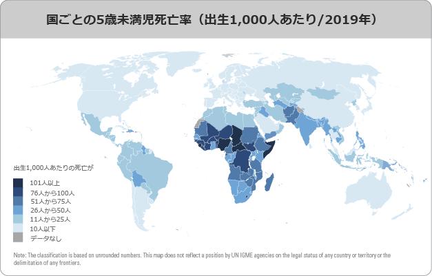 国ごとの5歳未満次死亡率(出生1000人あたり-2019年)