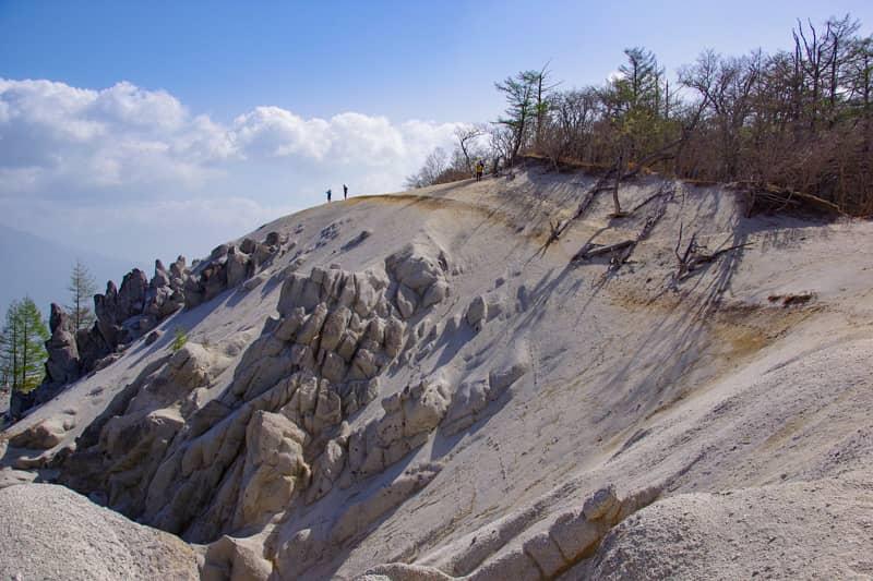 山頂に白い砂浜が広がる珍しい景色の山です