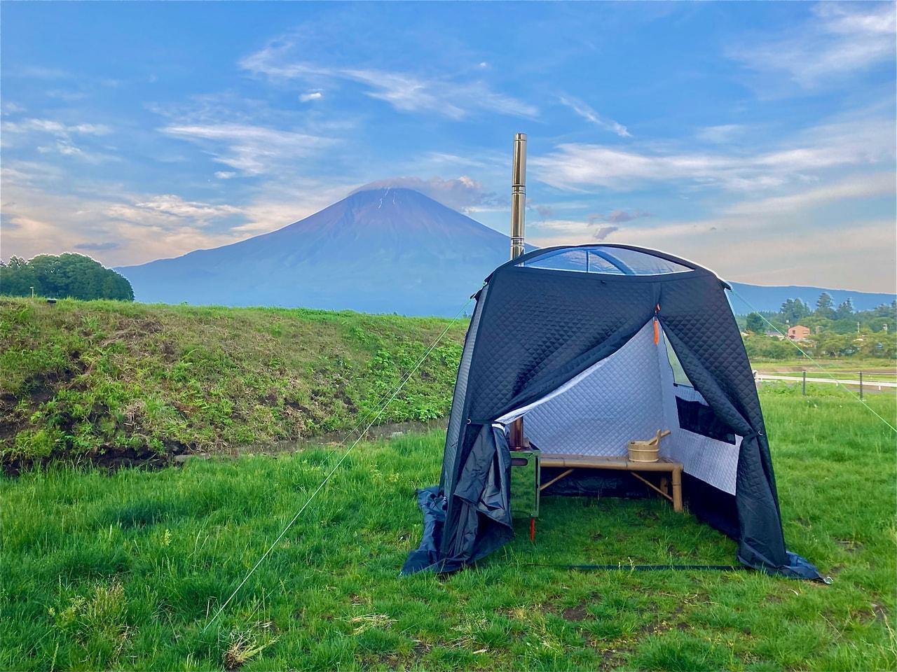 富士山の前にサウナ!?1日1組限定のグランピング施設でアウトドアサウナを体験しよう!