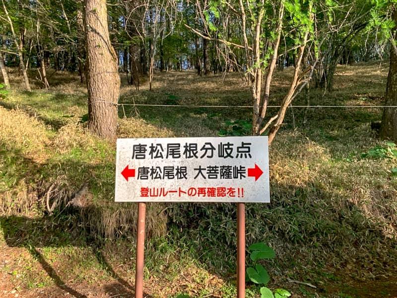 上日川峠にある「ロッジ長兵衛」から「福ちゃん荘」までは共通の登山道です