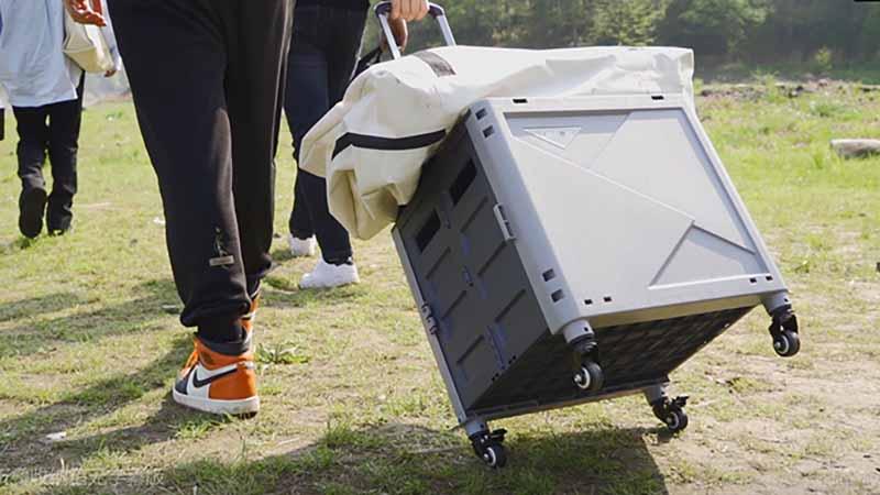 5秒でたためる!大量の荷物運搬!椅子やテーブル、ウォータータンクとしても使用可能!「スーパーキャリーカートMyCart」