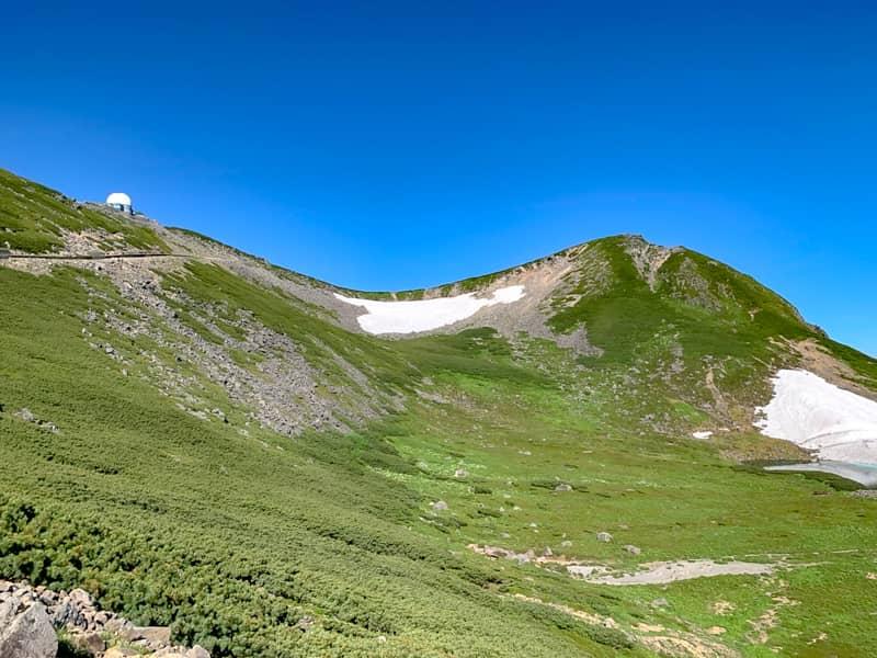 標高2876メートルの摩利支天岳山頂