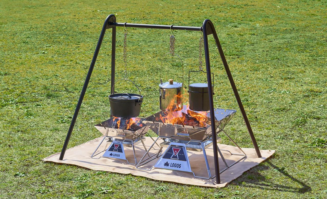 ハンガーラックにもなる吊り下げ調理ラック「TAKIBI A型クックポッド」がLOGOSから新発売