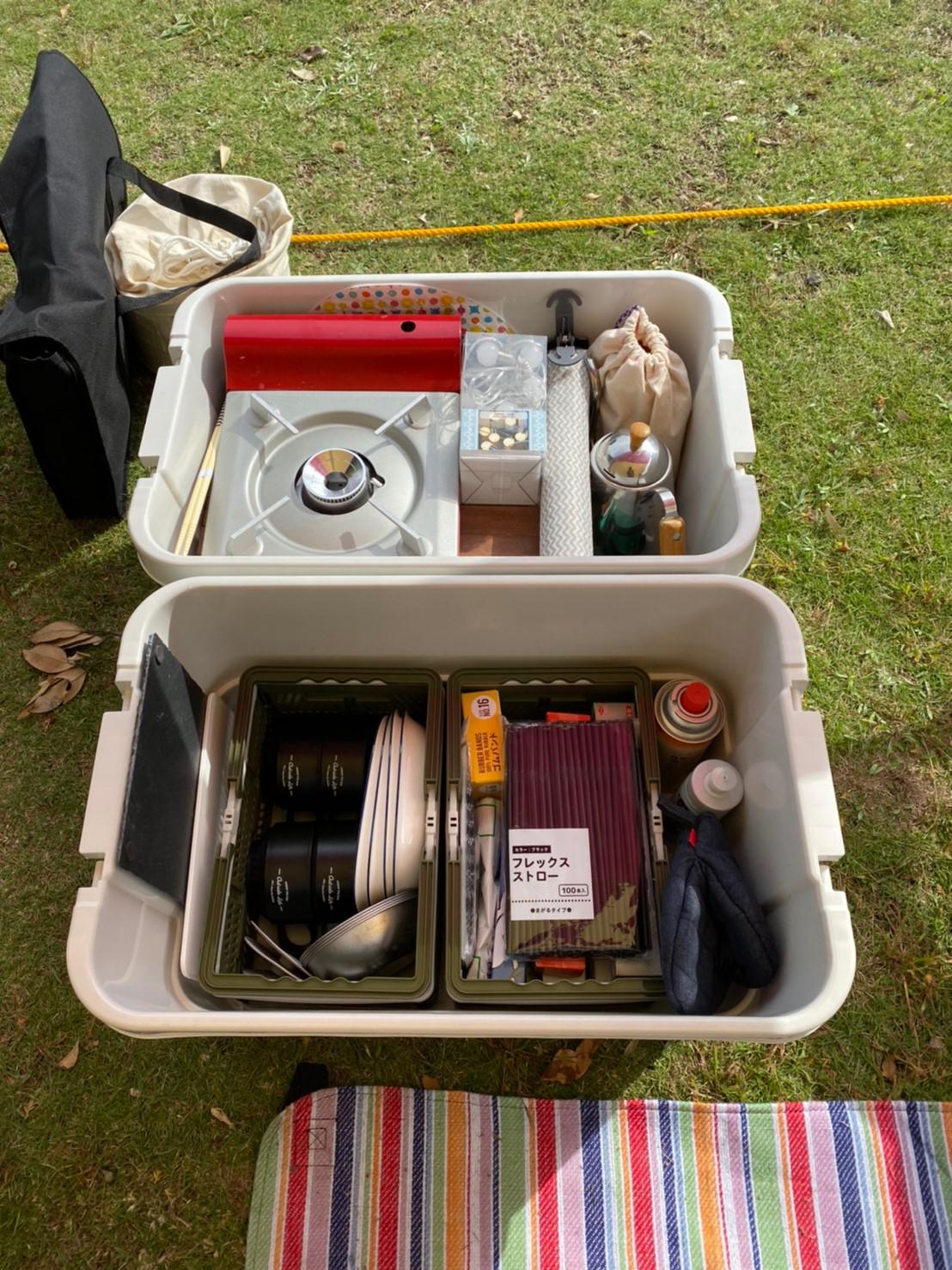 頑丈ボックスにキャンプ道具